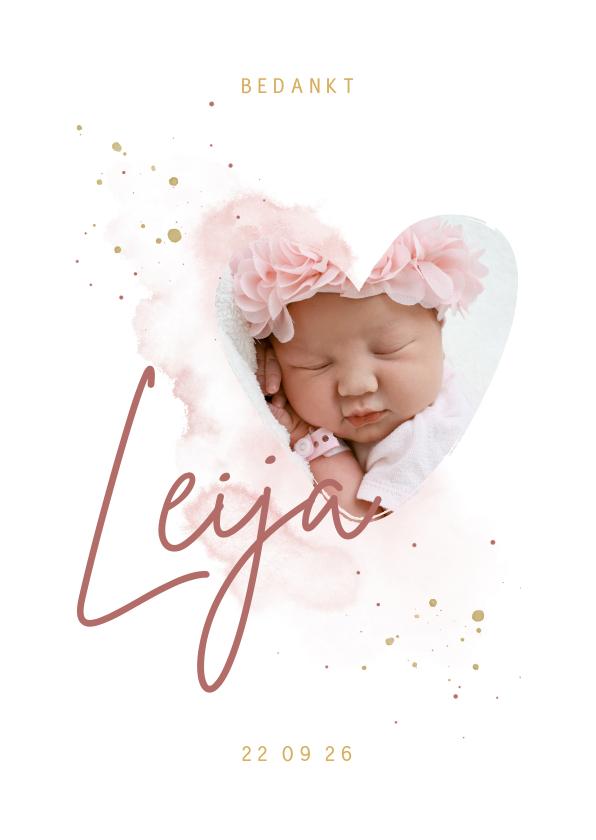Geboortekaartjes -  Bedankkaartje foto in hartjesvorm roze aquarel grote naam