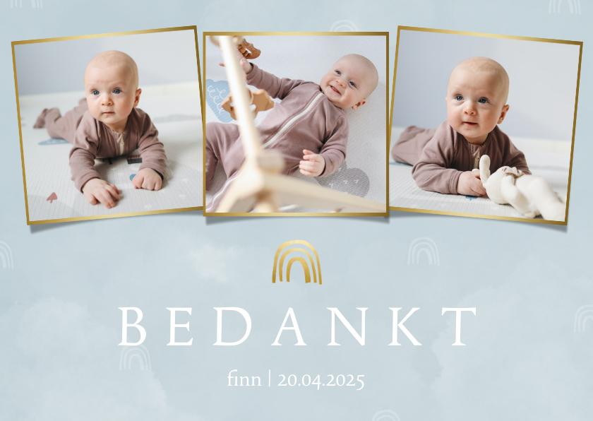 Geboortekaartjes - Bedankkaartje geboorte wolkjes en regenboog blauw