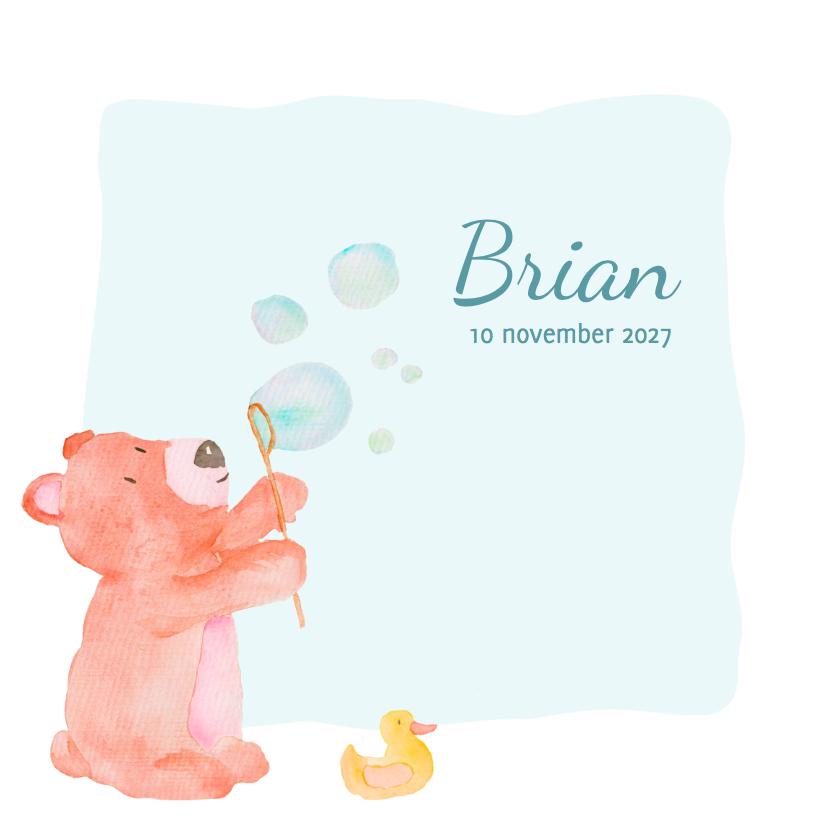 Geboortekaartjes - Beer en zeepbellen Brian - DH