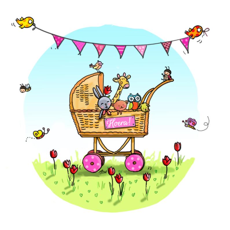 Geboortekaartjes - Beestjes in wiegje roze