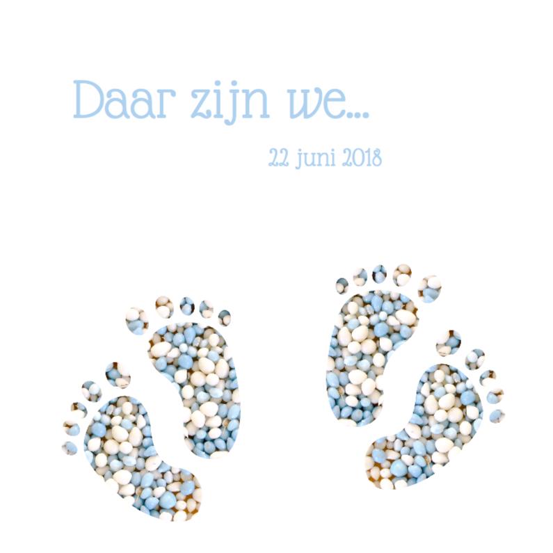 Geboortekaartjes - Blauw geboortekaart tweeling voetjes jongens