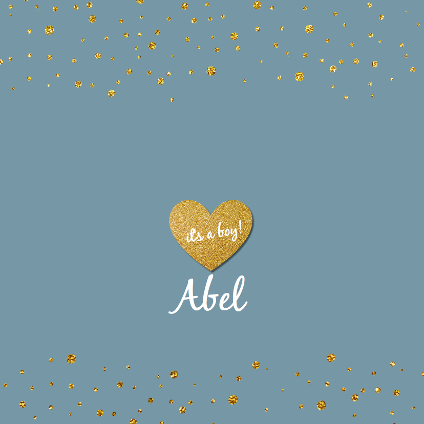 Geboortekaartjes - Blauw geboortekaartje goud confetti