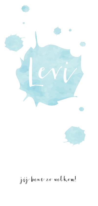 Geboortekaartjes - Blauwe waterverf met naam