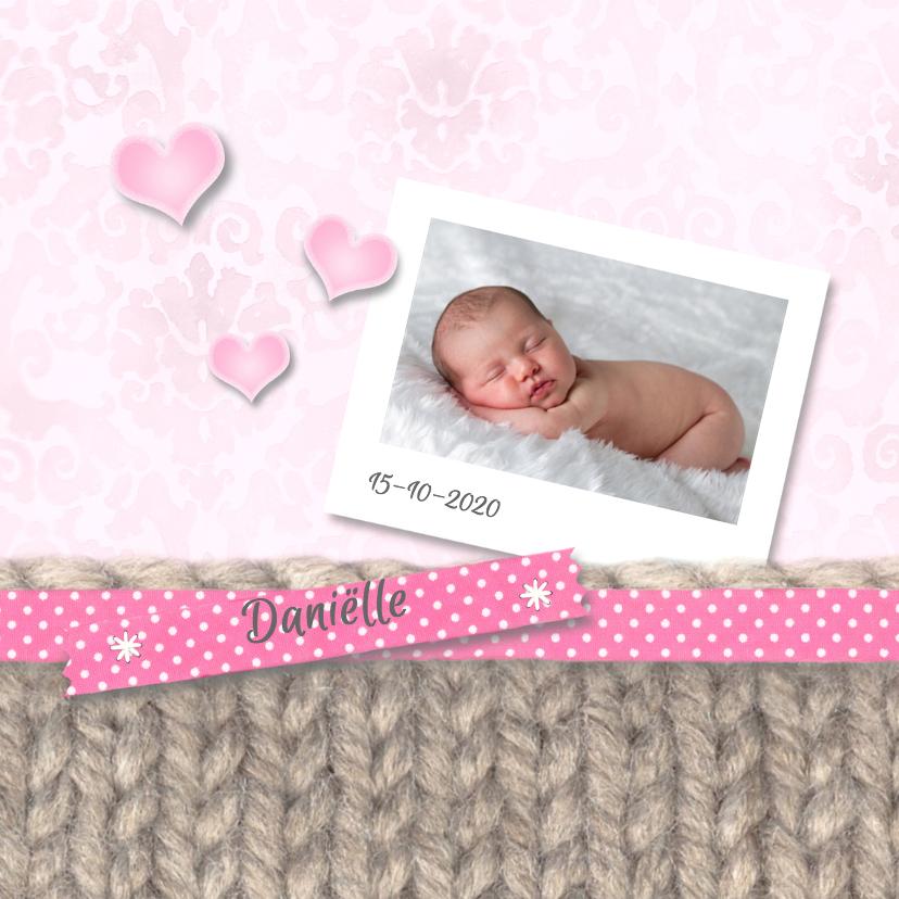 Geboortekaartjes - Breiwerk, lint en hartjes