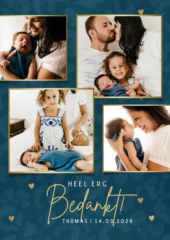 Geboortekaartjes - Collage geboorte bedankkaartjes panterprint & gouden hartjes