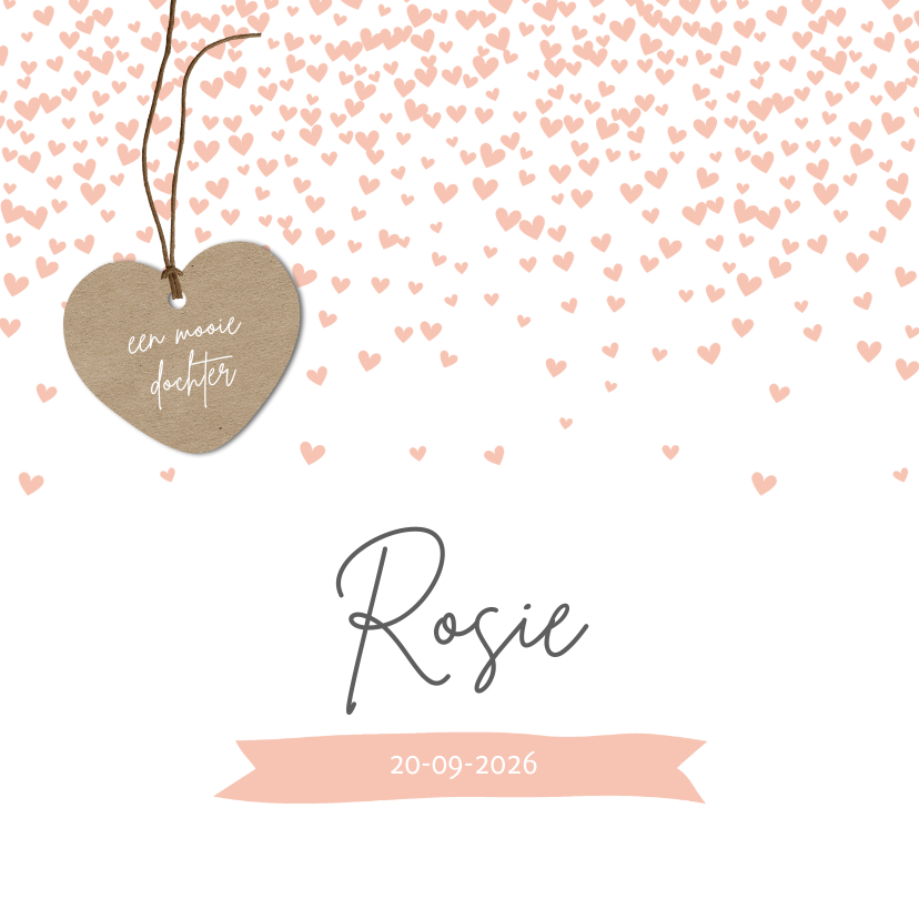 Geboortekaartjes - Confetti hartjes