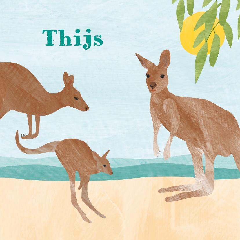 Geboortekaartjes - Dieren geboortekaartje kangoeroe