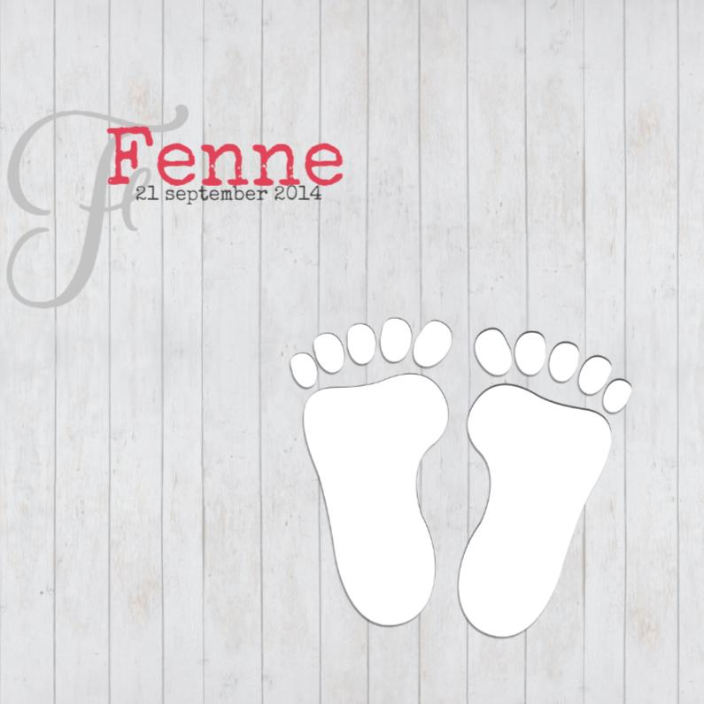 Geboortekaartjes - Footprints op hout