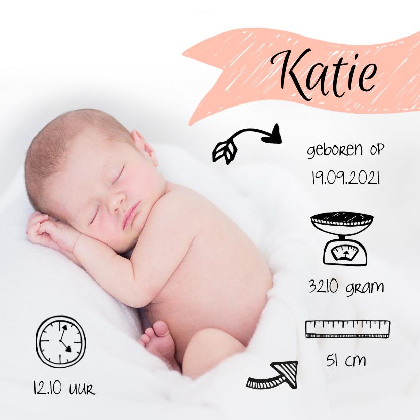 Geboortekaartjes - Foto geboortekaartje met illustraties