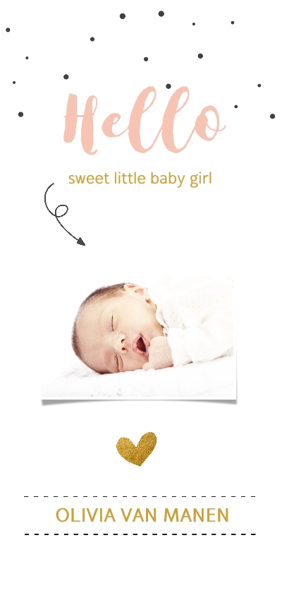 Geboortekaartjes - Fotokaartje met confetti en gouden hart