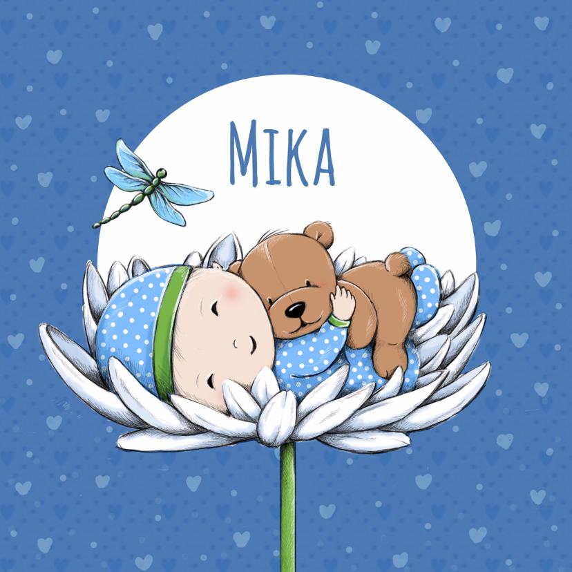 Geboortekaartjes - Geboorte baby Mika en beer IH