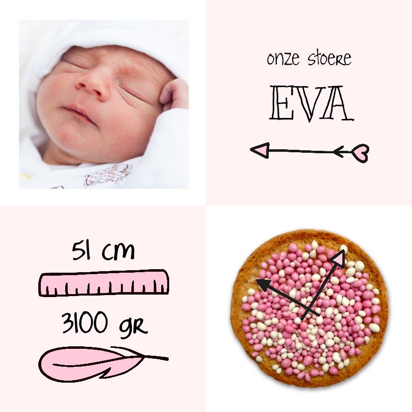 Geboortekaartjes - Geboorte beschuitklok girl