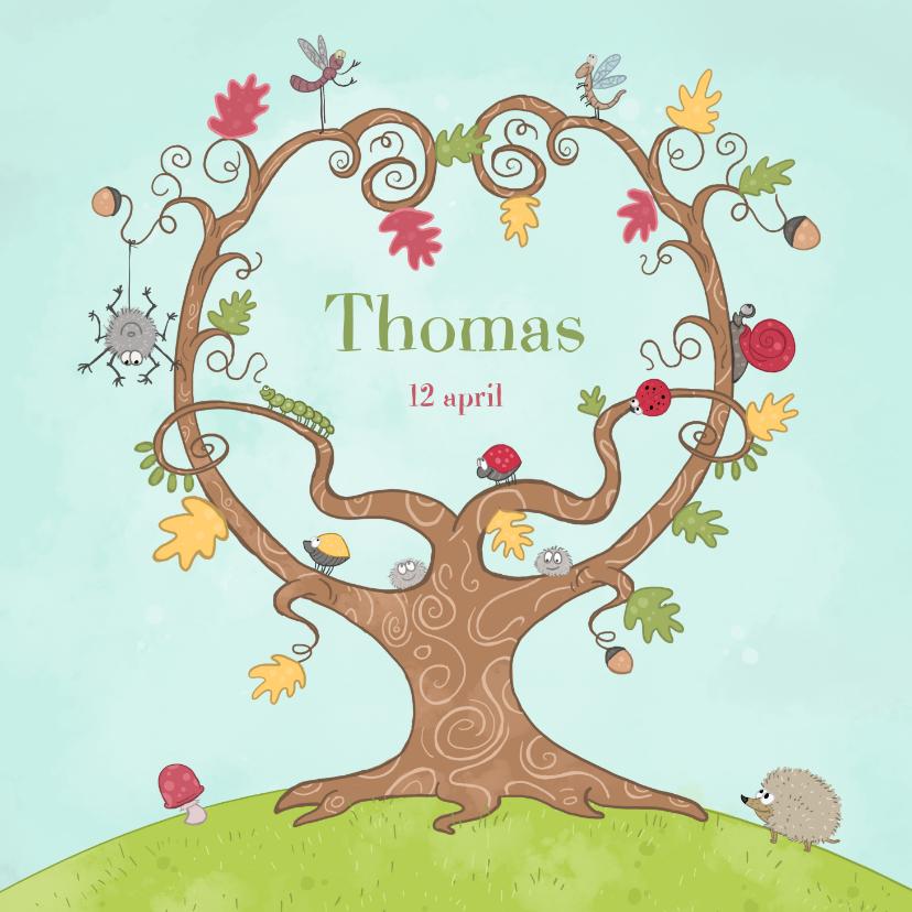 Geboortekaartjes - Geboorte boom met beestjes