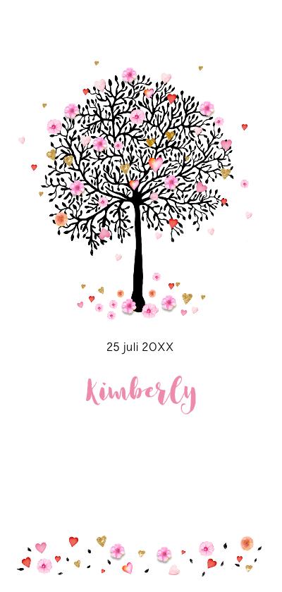 Geboortekaartjes - Geboorte boom met bloemen