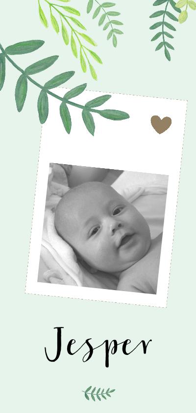 Geboortekaartjes - Geboorte - Botanisch met foto, jongen