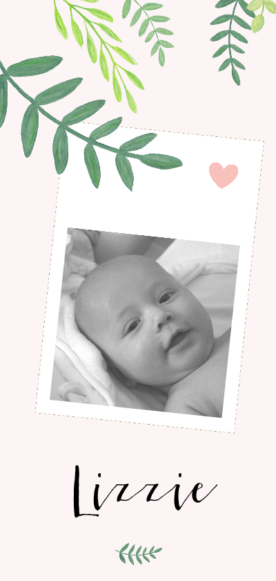 Geboortekaartjes - Geboorte - Botanisch met foto, meisje