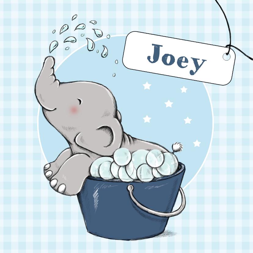 Geboortekaartjes - Geboorte bubbelbad olifant - IH