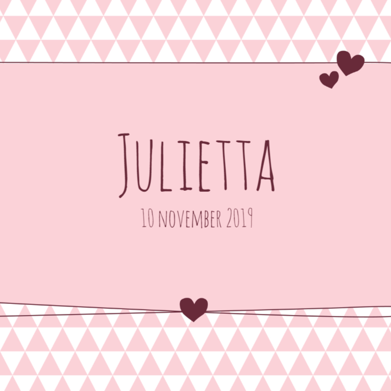 Geboortekaartjes - Geboorte  Driehoekjes roze, hart
