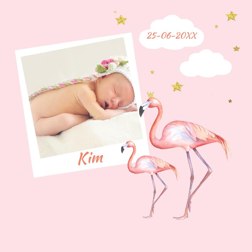 Geboortekaartjes - Geboorte flamingo meisje foto