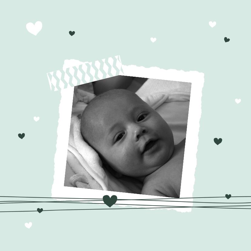 Geboortekaartjes -  Geboorte - Foto, harten, groen