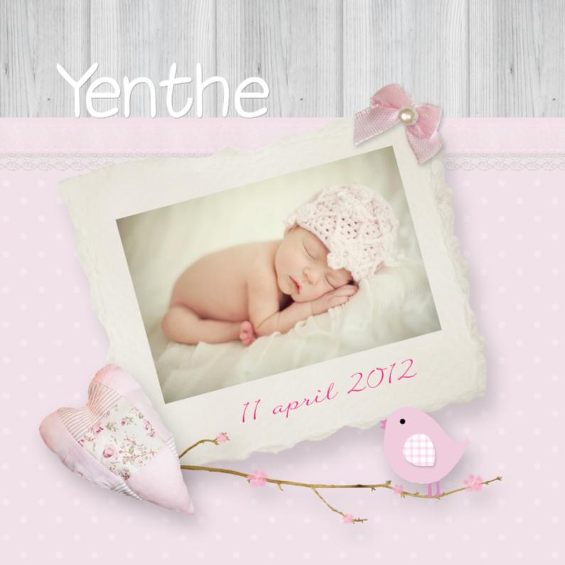 Geboortekaartjes - Geboorte fotokaart romantisch vogel takje