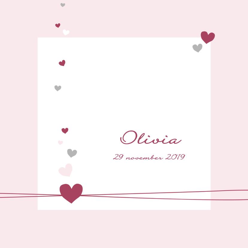 Geboortekaartjes - Geboorte - Hartjes meisje roze
