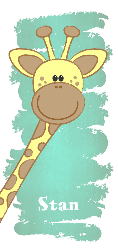 Geboortekaartjes - Geboorte hip dubbel langwerpig kaartje met lief girafje