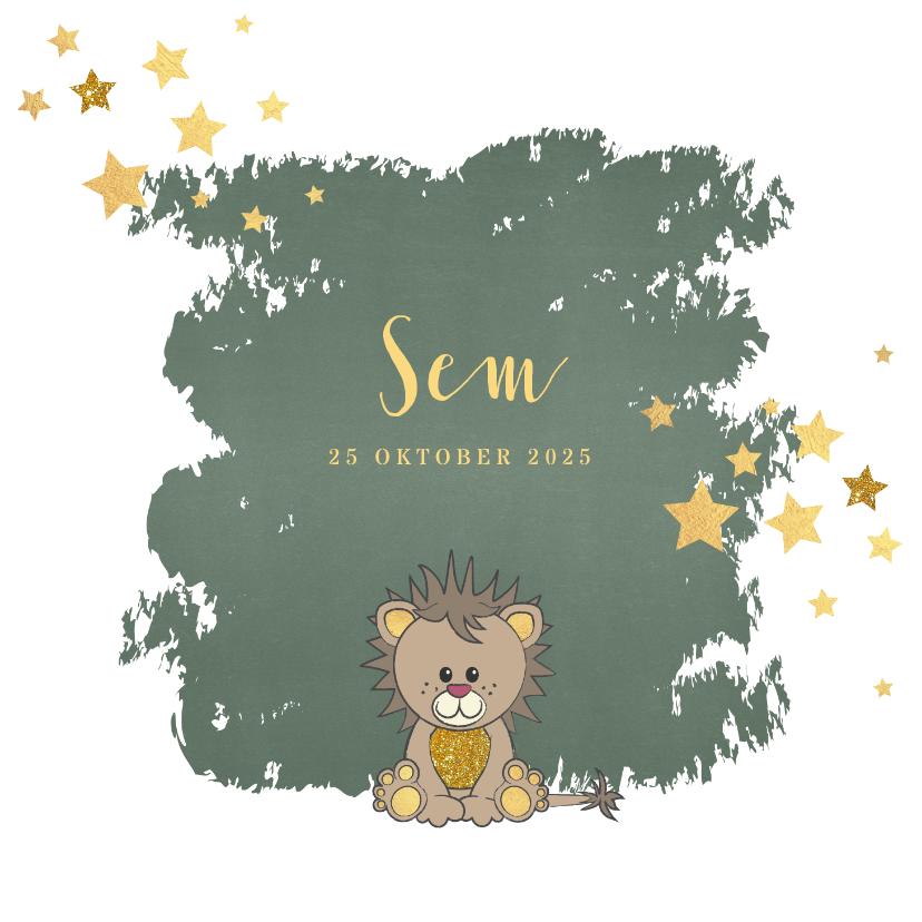 Geboortekaartjes - Geboorte hip groen kaartje met een schattige leeuw
