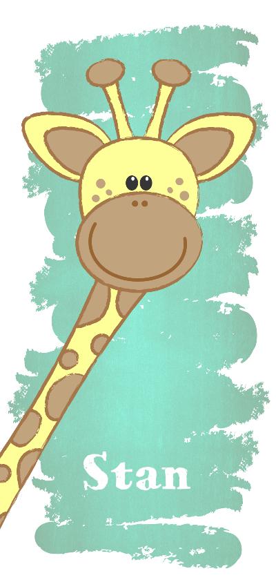 Geboortekaartjes - Geboorte hip langwerpig kaartje met een lief girafje