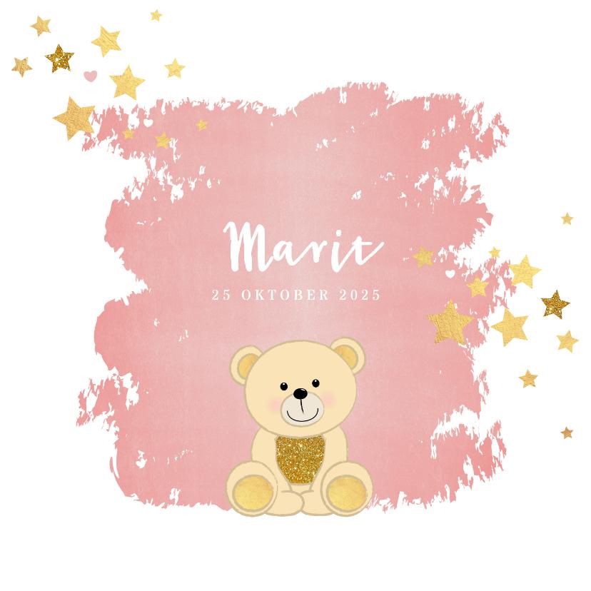 Geboortekaartjes - Geboorte hip roze kaartje met een schattig beertje