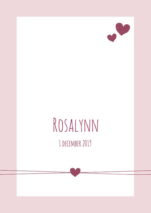 Geboortekaartjes - Geboorte - Hip roze met hartjes