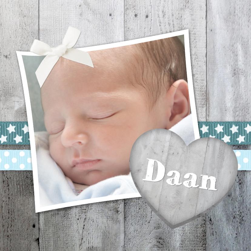 Geboortekaartjes - Geboorte Jongen Hout Lint lief