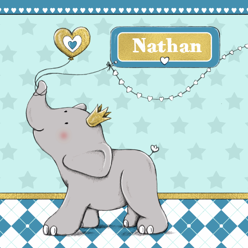 Geboortekaartjes - Geboorte jongen olifant goud-IH