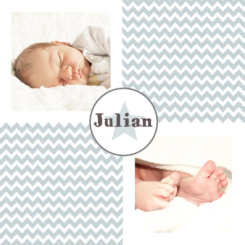 Geboortekaartjes - Geboorte Jongen Zigzag foto - WW