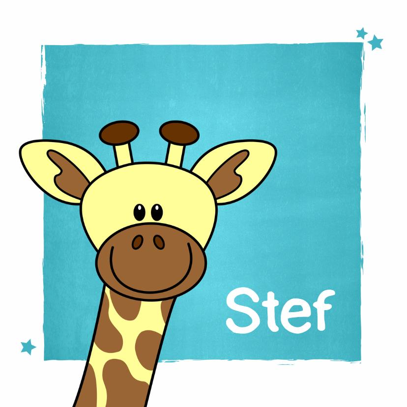 Geboortekaartjes - Geboorte kaartje met lief girafje voor een jongen