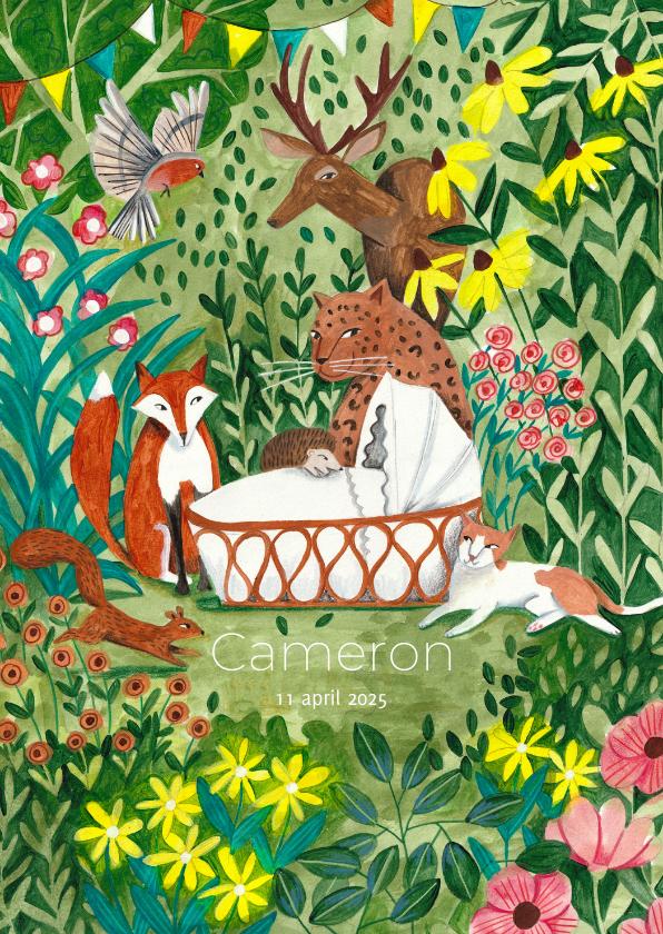 Geboortekaartjes - Geboorte kaartje wiegje met luipaard dieren in het bos