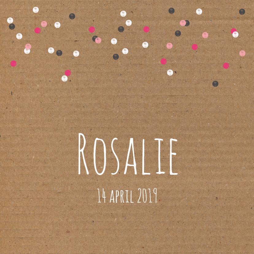 Geboortekaartjes - Geboorte- Karton, confetti, roze