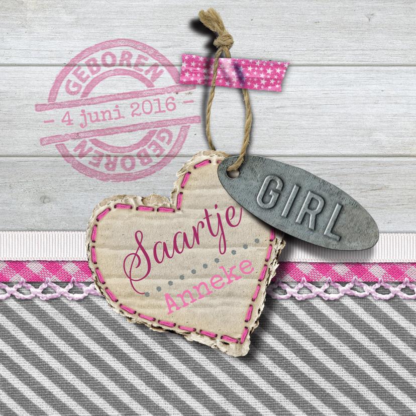 Geboortekaartjes - Geboorte label hout meisje