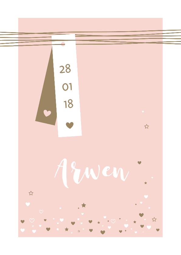 Geboortekaartjes - Geboorte - Label, lijnen, hartjes