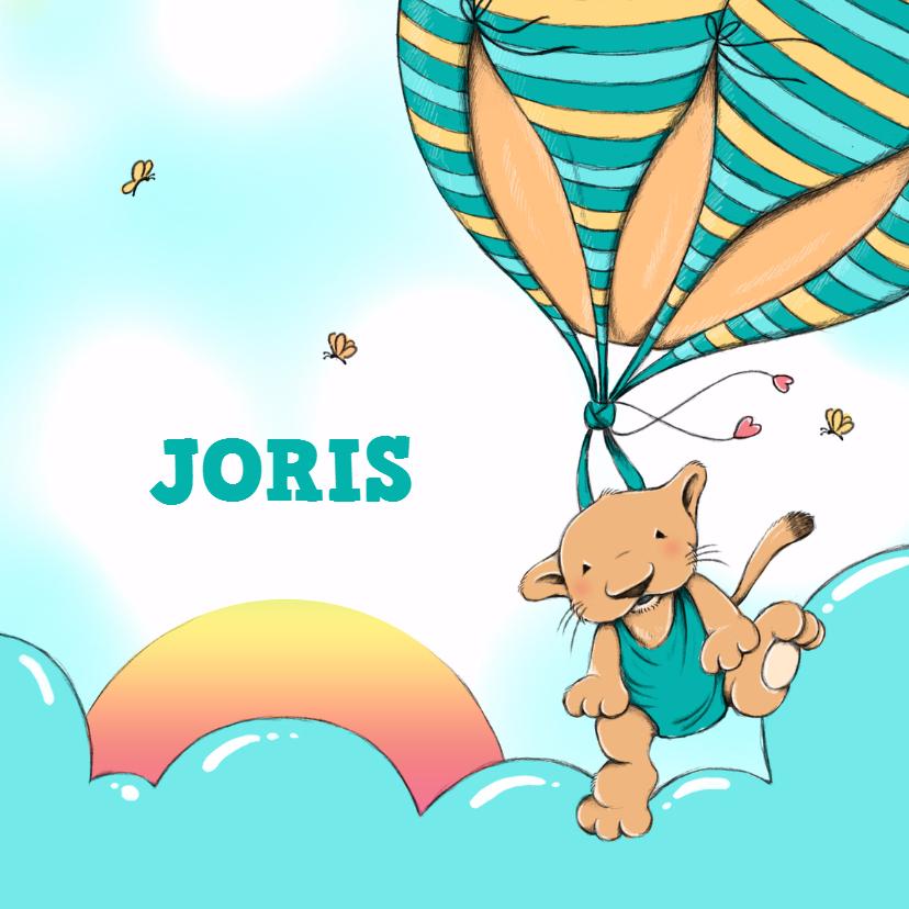 Geboortekaartjes - Geboorte leeuw ballon zon - IH