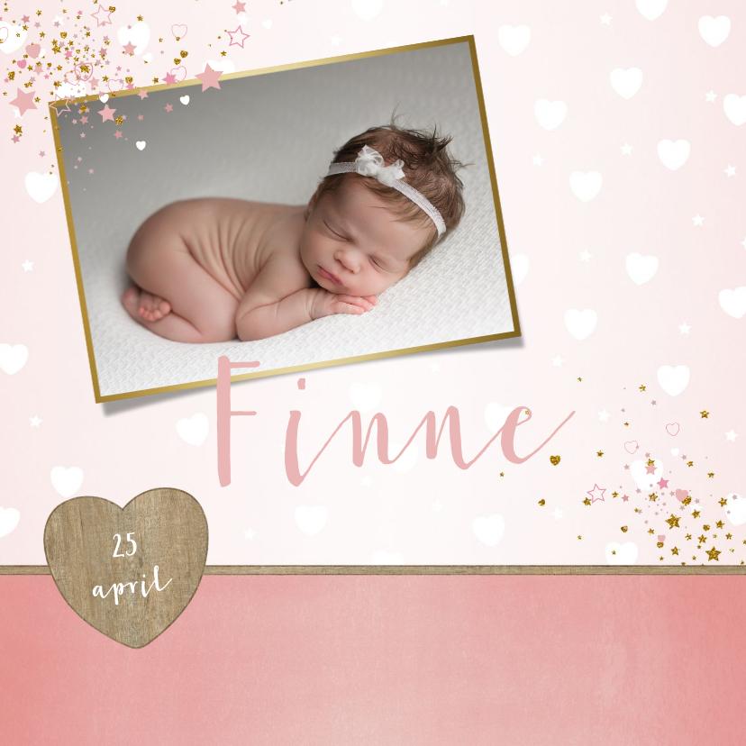 Geboortekaartjes - Geboorte lief en hip, roze kaartje met foto en hartjes