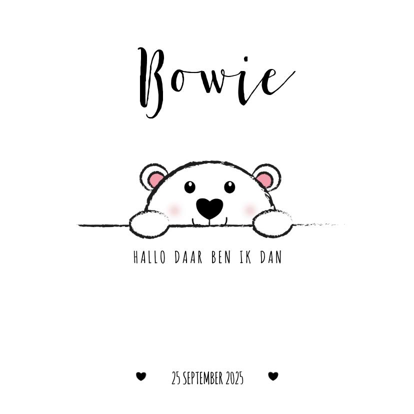Geboortekaartjes - Geboorte lief zwart wit kaartje met een ijsbeertje