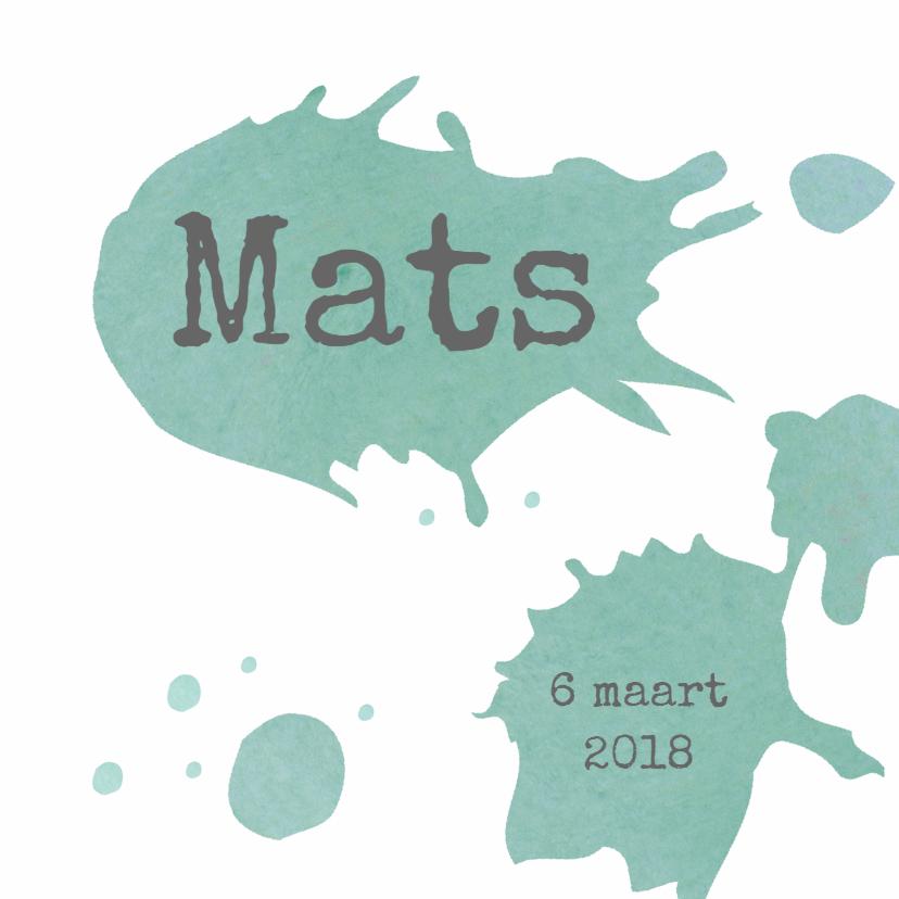 Geboortekaartjes - Geboorte Mats Blauwgroen