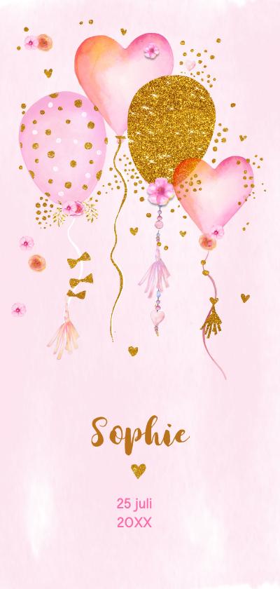 Geboortekaartjes - Geboorte meisje ballonnen aquarel