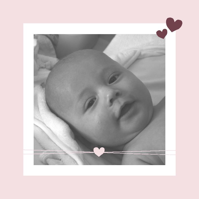 Geboortekaartjes - Geboorte -Meisje, hartje en foto
