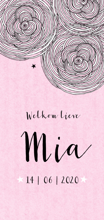 Geboortekaartjes - Geboorte meisje kader bloemen sterren roze - MW
