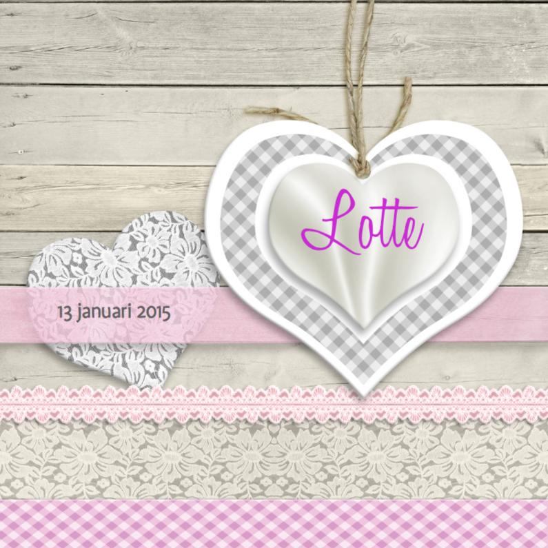 Geboortekaartjes - Geboorte meisje kant en hartjes