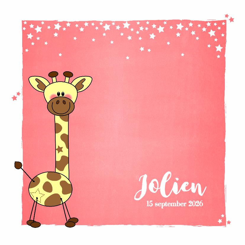 Geboortekaartjes - Geboorte meisje lief schattig girafje zalm