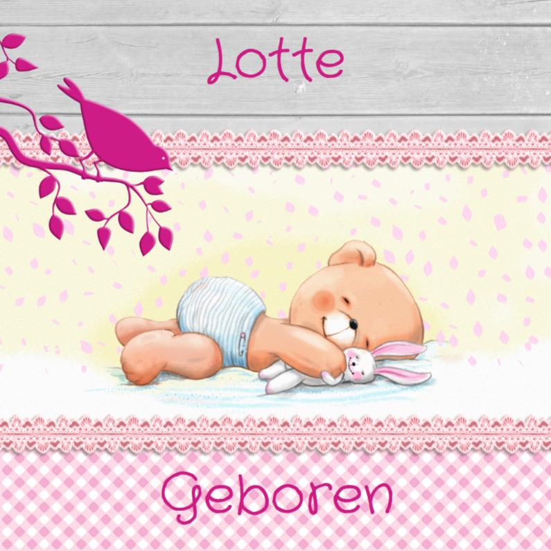 Geboortekaartjes - Geboorte meisje met beertje en konijntje