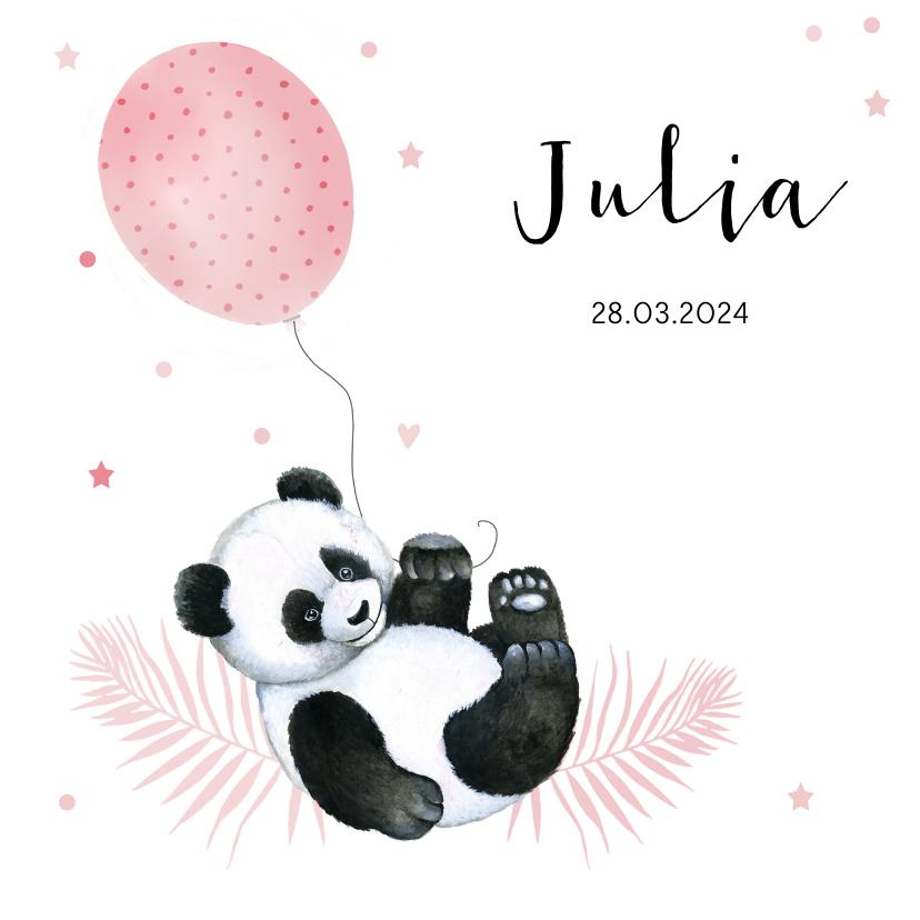 Geboortekaartjes - Geboorte meisje pandabeertje ballonnetje